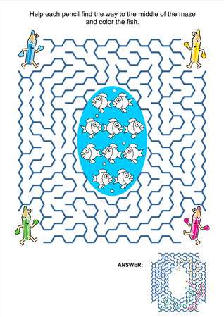 printable coloring pages: Maze game and coloring activity page for kids  Help each pencil find the way to the middle of the maze and color the fish  Answer included