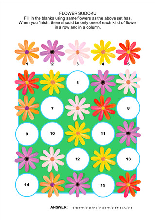 sudoku: Picture sudoku puzzle 5x5  one block  with gerbera daisy flowers  Answer included  Illustration