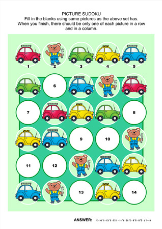 Picture sudoku puzzle with cars and bear mechanic