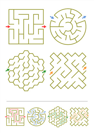 Four simple mazes of various shapes  Answers included   Illustration