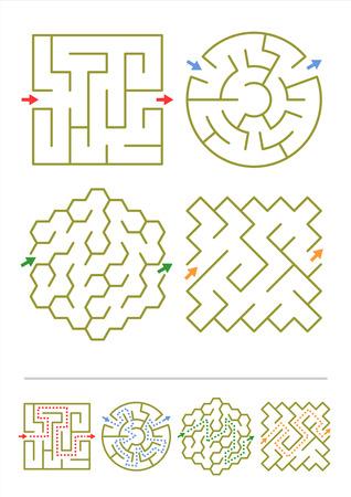 Vier eenvoudige doolhoven van verschillende vormen Antwoorden opgenomen Stock Illustratie