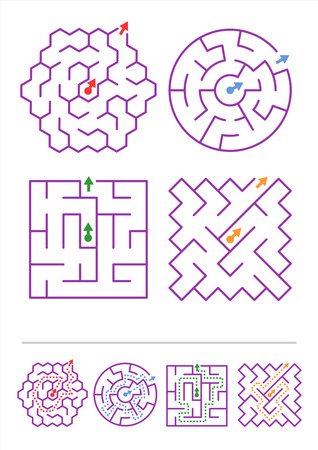 easy way: Four simple mazes of various shapes  Answers included   Illustration