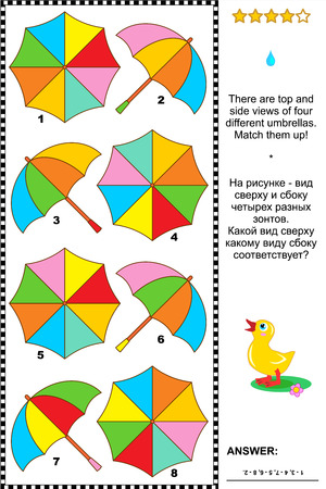Colorful umbrellas visual puzzle  There are top and side views of four different umbrellas  Match them up  Plus same task text in Russian  Answer included  Illustration