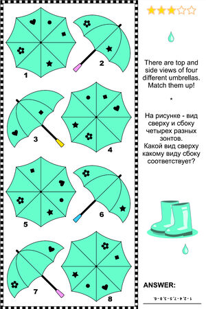 Turquoise umbrellas visual puzzle  There are top and side views of four different umbrellas  Match them up  Plus same task text in Russian  Answer included  Vector