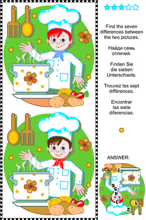 Picture puzzle  Find the seven differences between the two pictures of happy young chef  plus same task text in Russian, German, French and Spanish   Answer included