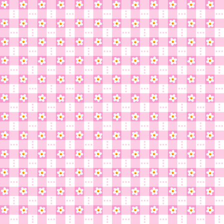 Seamless  repeatable  pink floral checked pattern, print, swatch, wallpaper, or background Illustration