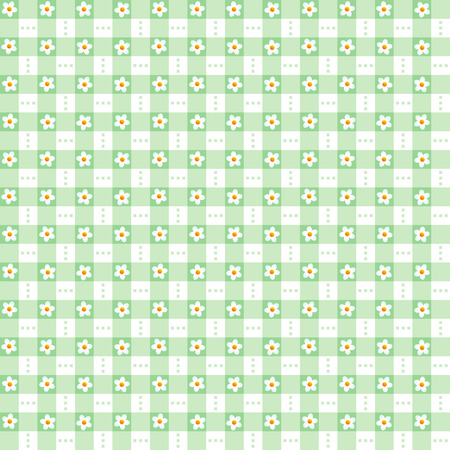 repeatable: Seamless  repeatable  green floral checked pattern, print, swatch, wallpaper, or background Illustration
