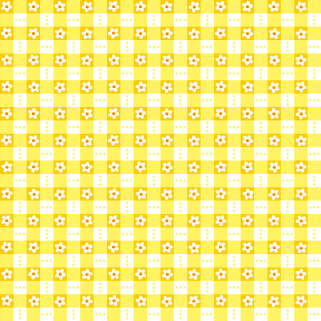 Seamless  repeatable  yellow floral checked pattern, print, swatch, wallpaper, or background Vector