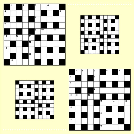crossword puzzle: Real size crossword puzzle grids 10x10 squares with corresponding answer grids