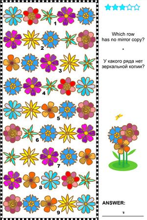 quizzes: Visual logic puzzle  Which row of colorful flowers has no mirrored copy  Plus same task text in Russian  Answer included  Illustration