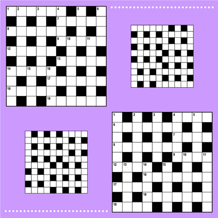 quizzes: Real size crossword puzzle grids 10x10 squares with corresponding answer grids