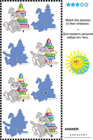 수수께끼: 비주얼 퍼즐 또는 사진 수수께끼 그들의 그림자 플러스 포함 러시아어 대답에 동일한 작업 텍스트에 장난감의 사진을 일치