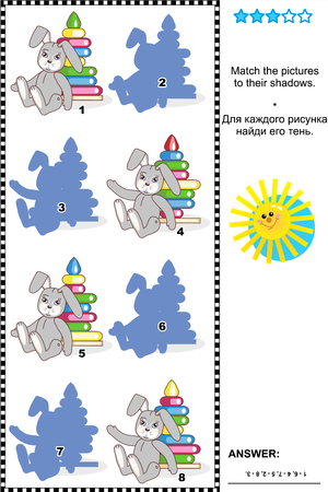 shadow match: Visual puzzle or picture riddle  Match the pictures of toys to their shadows  plus same task text in Russian   Answer included