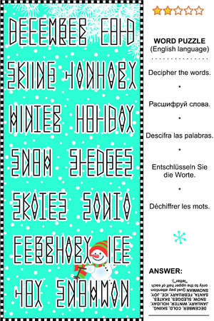 esl: Word puzzle  English language , winter joy themed  Answer included  Plus same task text in Russian, Spanish, German and French