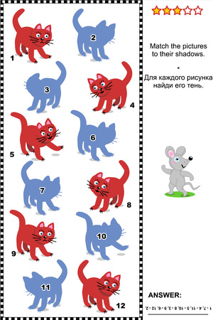 shadow match: Visual puzzle or picture riddle  Match the pictures of red cats to their shadows  plus same task text in Russian   Answer included