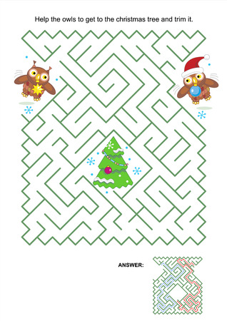 quizzes: Maze game or activity page  Help the owls to get to the christmas tree and trim it  Answer included  Illustration