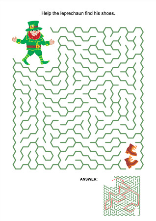 Maze game or activity page  Help the leprechaun find his shoes  Answer included  Vector