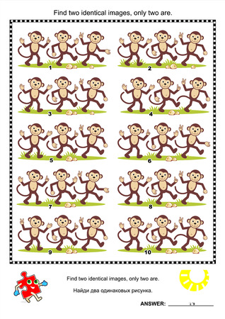 identical: Visual puzzle  Find two identical images of happy playful monkeys  plus same task text in Russian   Answer included  Illustration
