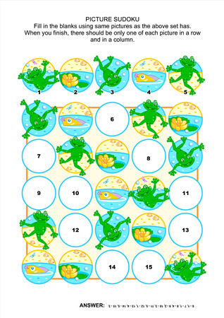pond life: Picture sudoku puzzle 5x5  one block  with frogs and pond life  Answer included
