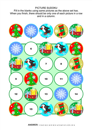 holiday icons: Christmas or New Year themed picture sudoku puzzle 5x5  one block  with winter holiday icons  Answer included