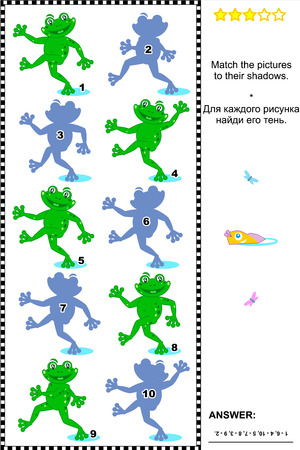 shadow match: Visual puzzle or picture riddle  Match the pictures of playful frogs to their shadows  Answer included