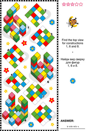 quizzes: Educational math puzzle  Find the top view for each of the three constructions  Answer included
