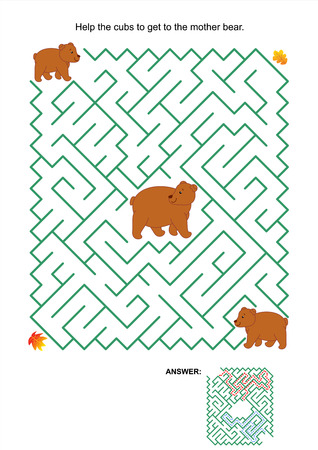 Maze game or activity page  Help the cubs to get to the mother bear  Answer included  Vector