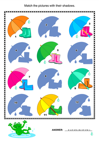 gumboots: Visual puzzle or picture riddle  Match the pictures of gumboots and umbrellas to their shadows  Answer included