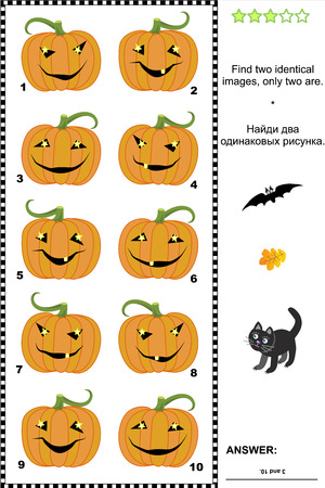 Halloween visual puzzle or picture riddle  Find two identical images of pumpkins  Answer included