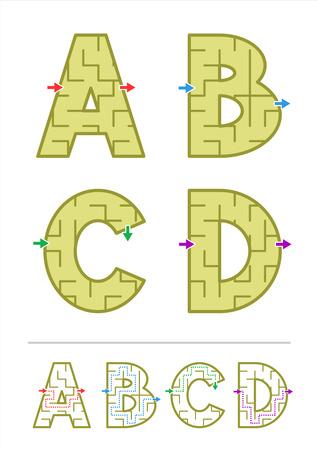 Eenvoudige alfabet doolhof spelletjes - letters A, B, C, D opgenomen Antwoorden