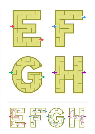 Simple alphabet maze games - letters E, F, G, H  Answers included  Illusztráció