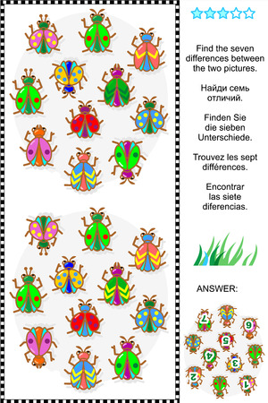 spot the difference: Picture puzzle  Find the seven differences between the two pictures of various bugs and beetles  plus same task text in Russian, German, French and Spanish   Answer included  Illustration
