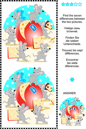 spot the difference: Picture puzzle  Find the seven differences between the two pictures of happy mice and yummy cheese  plus same task text in Russian, German, French and Spanish   Answer included