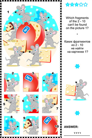 Mice and cheese visual logic puzzle  What of the 2 - 10 are not the fragments of the picture 1  Plus same task text in Russian  Answer included  Illustration