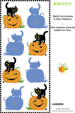 quizzes: Halloween themed visual puzzle or picture riddle  Match the pictures of pumpkins and black cats to their shadows  Answer included  Illustration
