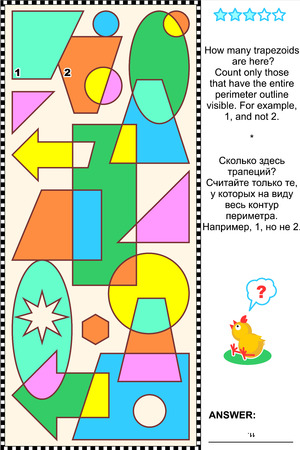 Educational visual math puzzle  Find and count all the trapezoids  Answer included
