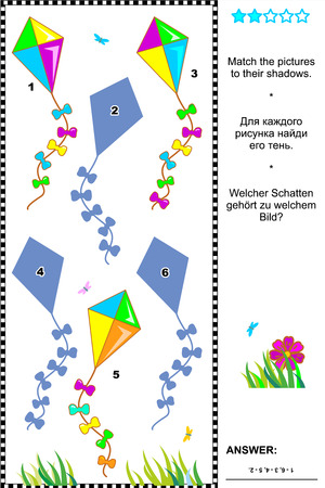 shadow match: Visual puzzle or picture riddle  Match the pictures of colorful kites to their shadows  Answer included  Illustration