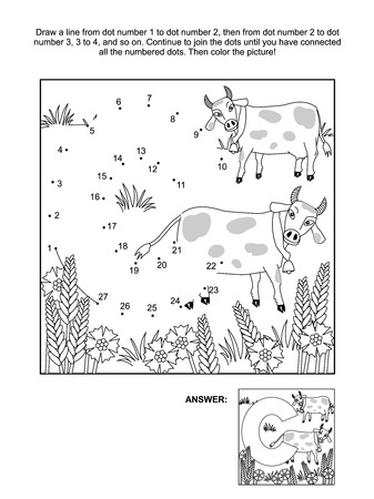 printable coloring pages: Educational connect the dots picture puzzle and coloring page - letter C, cows and cornflowers  Answer included