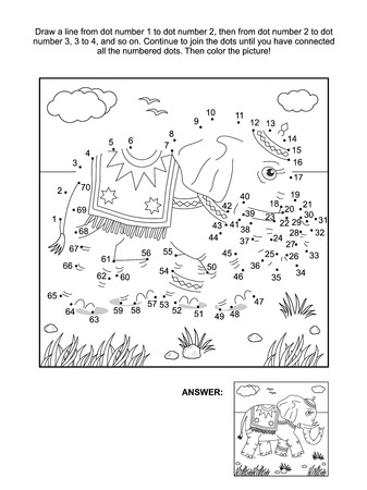 printable: Connect the dots picture puzzle and coloring page with walking elephant  Answer included
