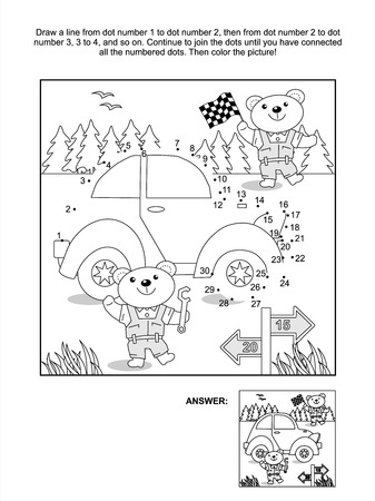 Connect the dots picture puzzle and coloring page with toy classic car and bear mechanics  Answer included