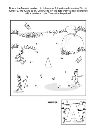 Educational connect the dots picture puzzle and coloring page - letter A, apple and ants  Answer included  Vector