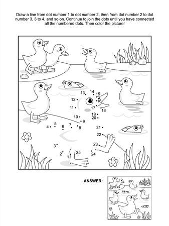 アヒルおよび魚池の答えでドット絵のパズルや着色のページを接続します。