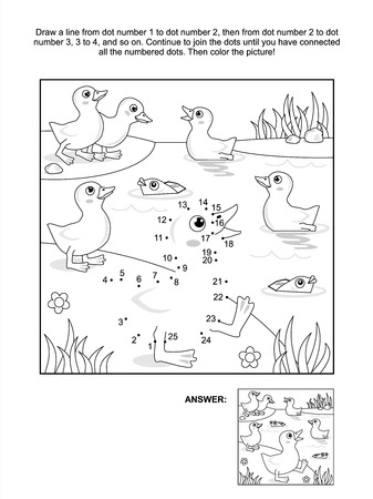 coloring sheet: Connect the dots picture puzzle and coloring page with ducklings and fish at the pond  Answer included