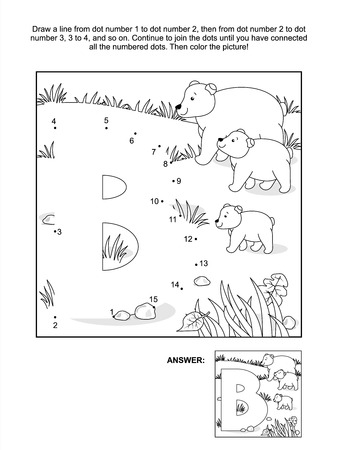 Educational connect the dots picture puzzle and coloring page - letter B and bears  Answer included  Vector