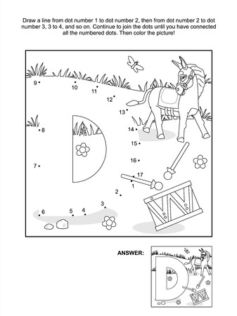 literate: Educational connect the dots picture puzzle and coloring page - letter D, donkey and drum  Answer included