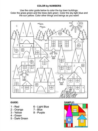 coloring sheet: Color by numbers activity page for children with toy town scene made of colorful building blocks