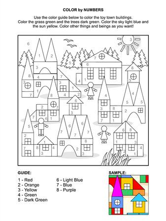cyfra: Kolor przez numery stronie aktywności dla dzieci z zabawki miasta sceny z kolorowych klocków