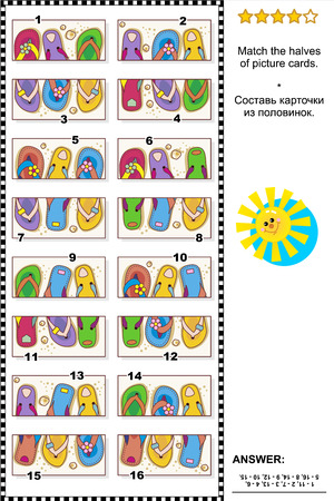 Visual puzzle: Match the halves of picture cards with colorful flip-flops. Answer included. Illustration