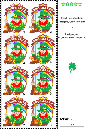 Visual puzzle: Find two identical images of St. Patricks Day themed badges with leprechaun the shoemaker. Answer included. Vector