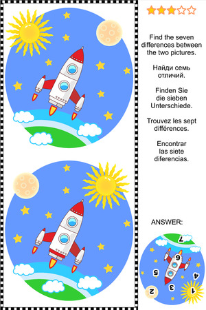 Space exploration themed picture puzzle: Find the seven differences between the two pictures. Answer included.